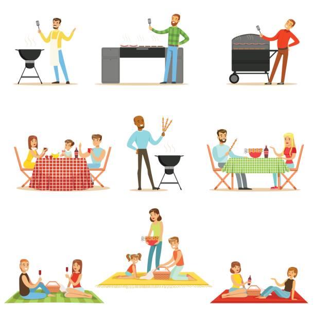 bildbanksillustrationer, clip art samt tecknat material och ikoner med människor på bbq picknick utomhus äta och koka grillat kött på elektrisk grill samling av scener - vin sommar fest