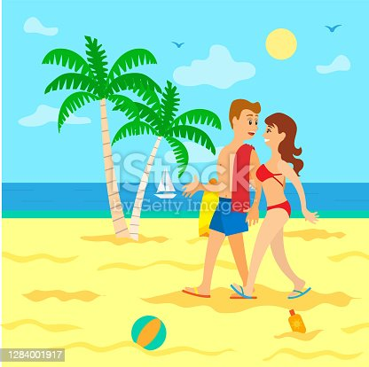 istock People on Beach in Swimsuit, Going in Sand Vector 1284001917