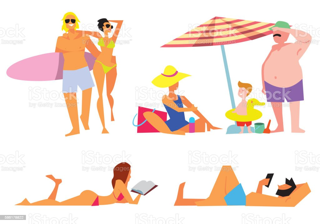 People on beach vector isolated set vector art illustration