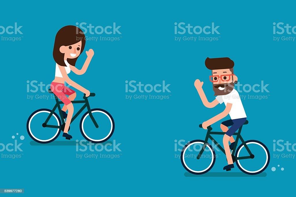 People on Bikes. vector art illustration