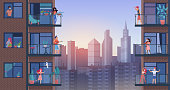 People on city balcony during quarantine vector illustration. Cartoon flat man woman characters in medical masks stay home, doing sports exercises, everyday activity, enjoy panoramic urban cityscape