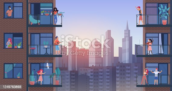 People on city balcony during quarantine vector illustration, cartoon flat man woman characters in medical masks stay home, enjoy panoramic urban cityscape