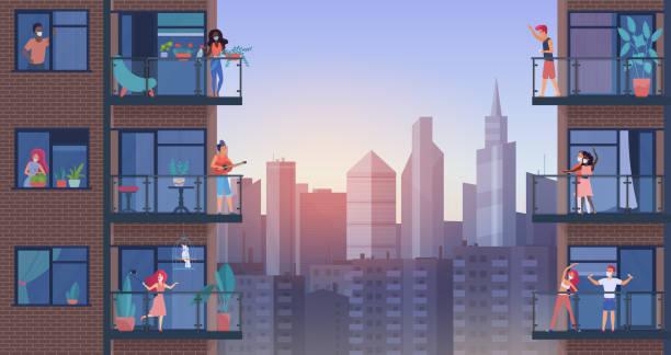 illustrazioni stock, clip art, cartoni animati e icone di tendenza di persone sul balcone della città durante l'illustrazione vettoriale quarantena, cartone animato piatto uomo donna personaggi in maschere mediche stare a casa, godere di paesaggio urbano panoramico - appartamento