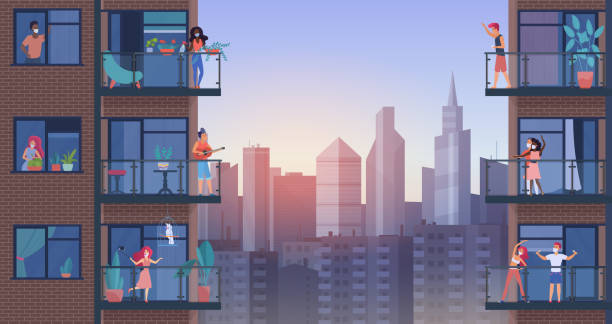 People on city balcony during quarantine vector illustration, cartoon flat man woman characters in medical masks stay home, enjoy panoramic urban cityscape vector art illustration