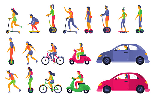 People on city transport. Electric scooter hoverboard, segway and roller skates. Town vehicle and transport car vector illustration