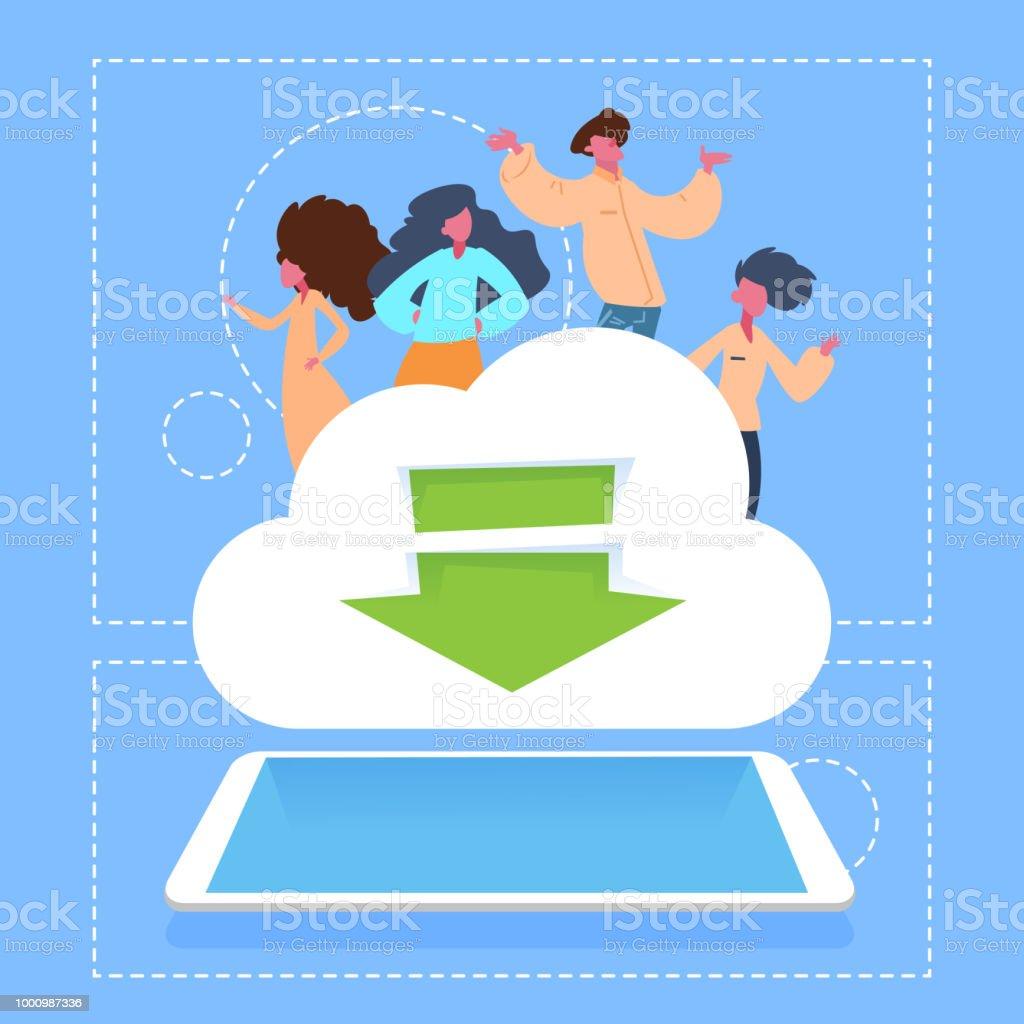 Ilustración de Personas En Descargar Nube Almacenamiento Red Tableta ...
