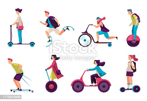 Isolated modern transport vehicles. Electric kick scooter and segway, hoverboard and unicycle, self-balanced jumper and hipster on roller skis, bikeboard and cruise scooter, monowheel. Ride and board