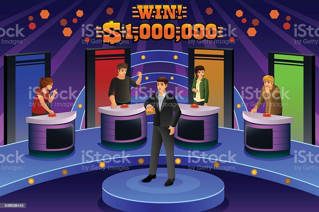 People on Game Show vector art illustration