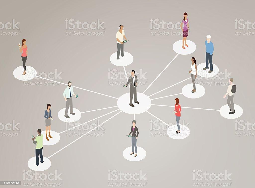 People on hub and spokes vector art illustration