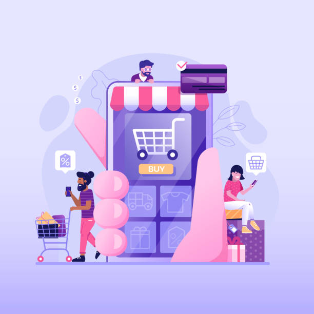 People on Online Mobile Shopping Flat Concept vector art illustration