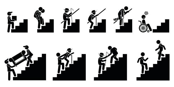 People on Staircase or Stairs. vector art illustration