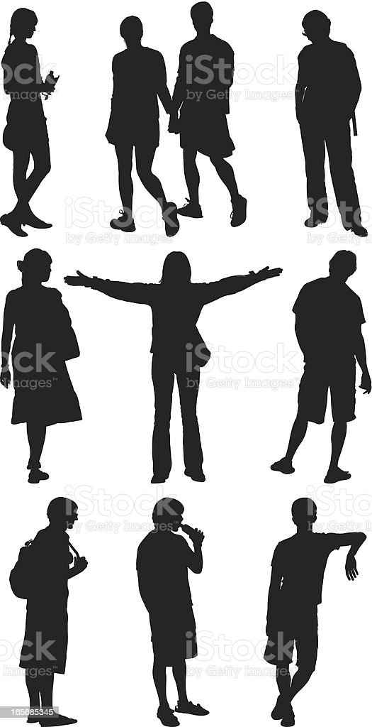 People on street vector art illustration