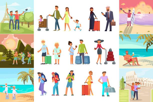 i̇nsanlar yaz tatil - turist stock illustrations
