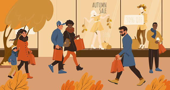People on the autumn sale shopping walking