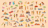 people on the beach fun graphic collection. man woman, couples kids, yound and old enjoy summer vacation,relax,chill have fun, surfing, play dance lying on towels sun chairs sand, eat ice drink cocktails set