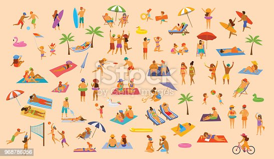 istock people on the beach fun graphic collection. man woman, couples kids, yound and old enjoy summer vacation,relax,chill have fun 968786056