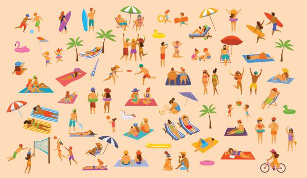 people on the beach fun graphic collection. man woman, couples kids, yound and old enjoy summer vacation,relax,chill have fun vector art illustration