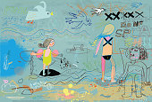 "Hand drawn scene on a beach. ""Don't splash"" concept"