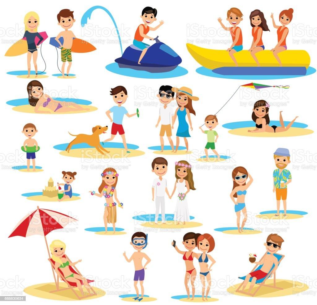People on the beach set. Summer vacation. The cartoon style. vector art illustration