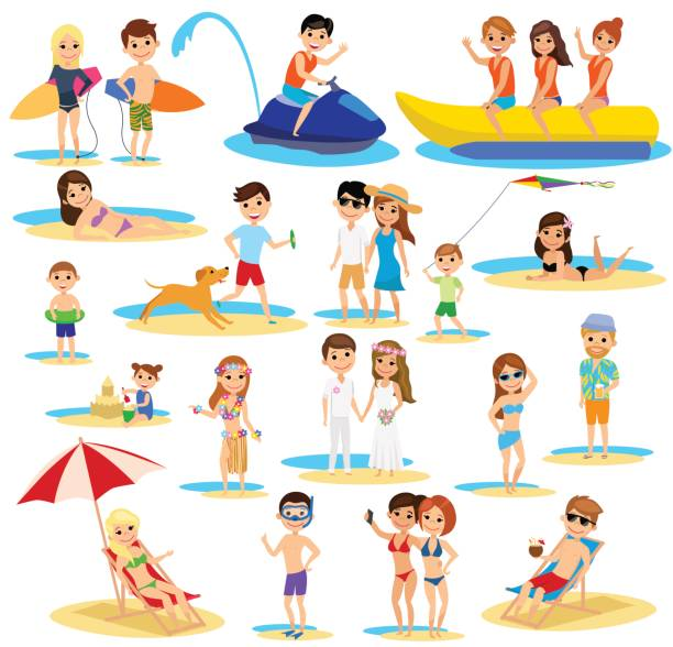 ilustrações de stock, clip art, desenhos animados e ícones de people on the beach set. summer vacation. the cartoon style. - bebé praia