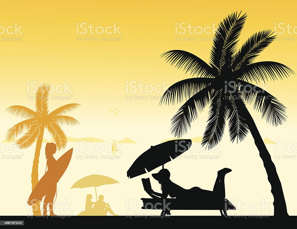 People on the beach silhouette vector art illustration