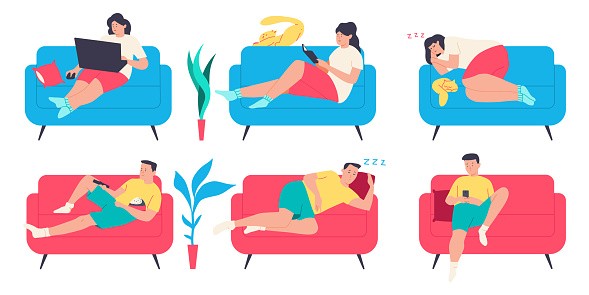 People on the couch. Man, woman and cat character in different poses on the sofa. Vector cartoon flat set isolated on a white background.