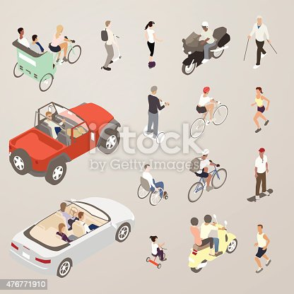 This detailed set of 16 icons is illustrated in a flat vector style. People on the go are seen using a variety of vehicles and other ways of getting around. Included in the set are: people riding in a pedicab; a man on a foot scooter; a man with a helmet riding a motorcycle; a man walking with walking sticks; a man and a dog in an open-top sports utility vehicle; a man on a two-wheeled stand-up scooter, a man and a woman riding bicycles; a man and a woman jogging; a young man on a skateboard; a man in a wheelchair, two people on a motor scooter; a family in a convertible car; and a small girl riding a tricycle.