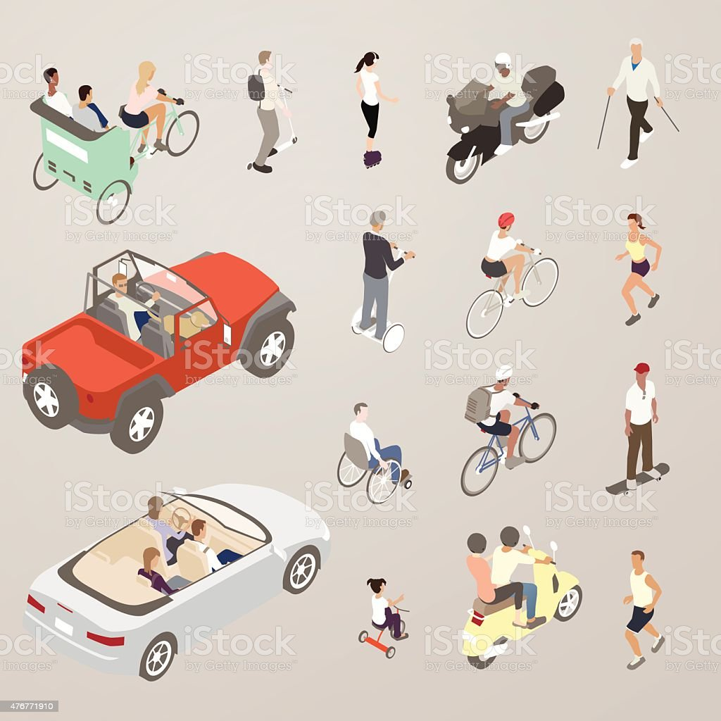 People on the Go - Flat Icons Illustration vector art illustration