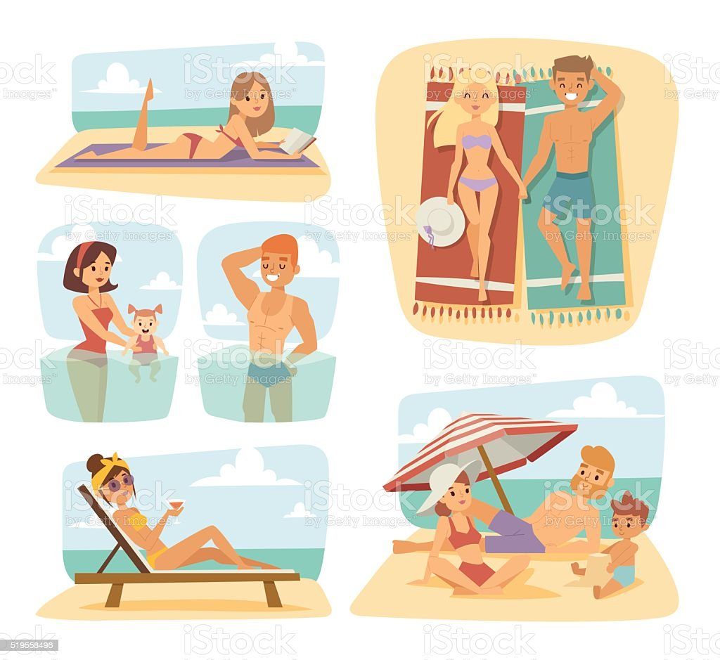 People on the sand beach fun vacation happy time cartoon vector art illustration