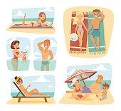 People on the sand beach fun vacation happy time cartoon