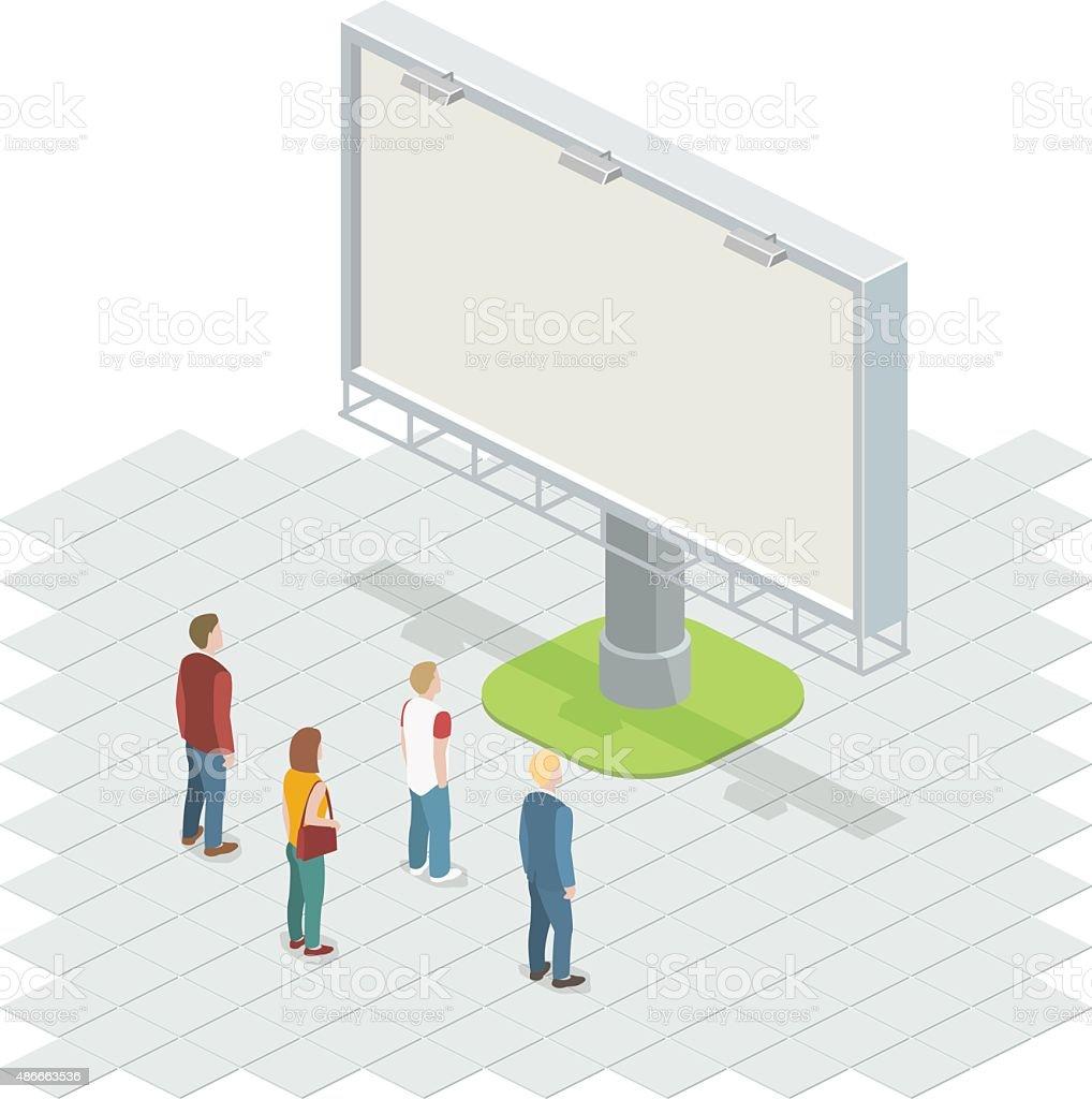 People on the street looking at billboard. vector art illustration