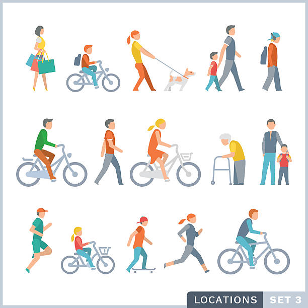 people on the street. neighbors - old man on bike stock illustrations, clip art, cartoons, & icons