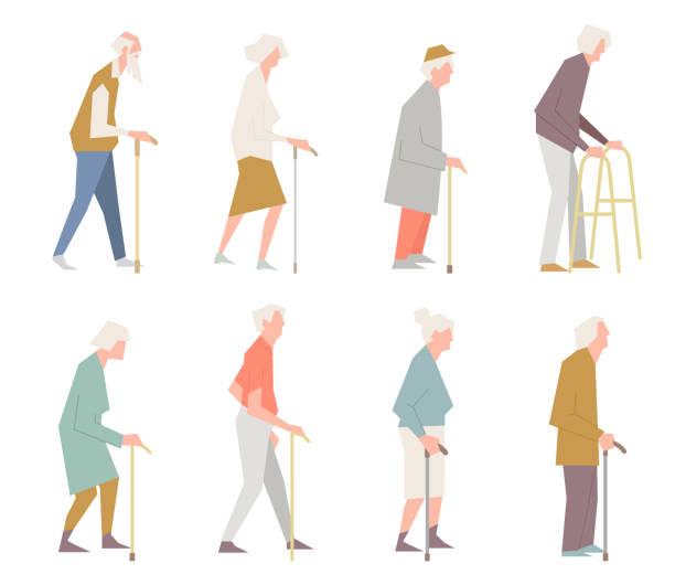 bildbanksillustrationer, clip art samt tecknat material och ikoner med människor på gatan. gamla människor i olika aktiviteter situationer samling. - senior walking