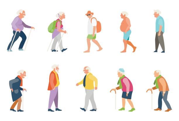 bildbanksillustrationer, clip art samt tecknat material och ikoner med människor på gatan. - senior walking