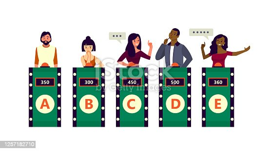 People on the TV quiz show. Man with the biggest score answering on television contest. Smart guy. Vector illustration in cartoon style