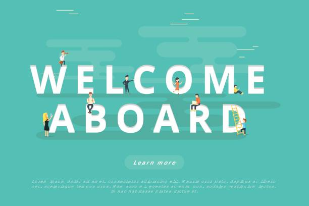 People on Welcome Aboard People on Welcome Aboard for Web and Mobile App Presentations aboard stock illustrations