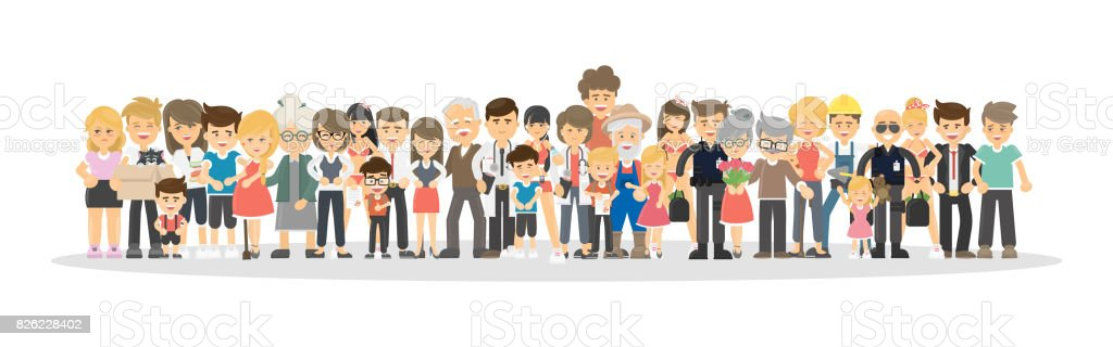 People on white background. vector art illustration