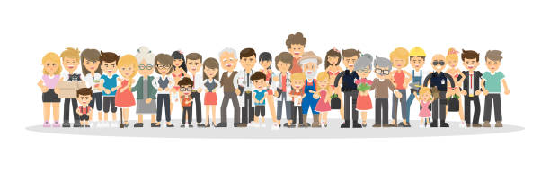people on white background. - cartoon kids stock illustrations, clip art, cartoons, & icons