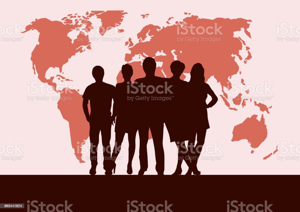 People on world map vector poster and background teamwork and people on world map vector poster and background teamwork and business concept royalty gumiabroncs Choice Image