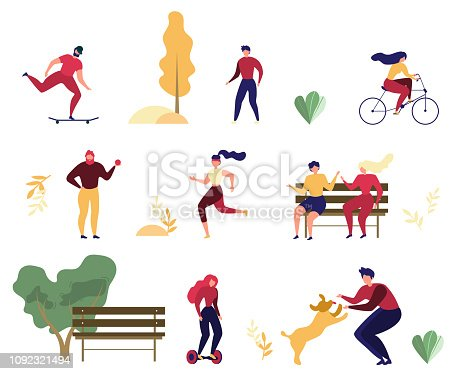 Modern People Outdoor Activity Flat Vector Set Isolated on White Background. Women and Men Riding Bicycle, Hoverbord and Skateboard, Playing with Dog, Meeting with Fiends on Bench in Park Illustration