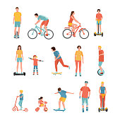 People outdoor activities vector illustrations set. Sports equipment. Cartoon bikers, skateboarders. Alternative eco transport. Balance board, tricycle, monowheel, gyroscooter drawings