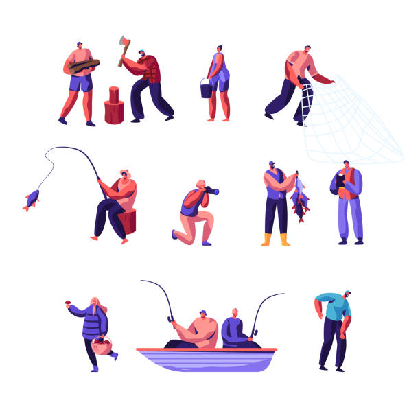 ilustrações de stock, clip art, desenhos animados e ícones de people outdoors activity set. male and female characters having active leisure on nature, chopping woods, fishing, collecting mushrooms in forest, photographing, cartoon flat vector illustration - fishman