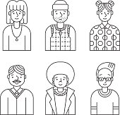 People outline gray icons vector set (men and women). Modern minimalistic design. Part four.