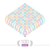 Hundred People led by a Female Team Leader. Isolated on white.  Outline stick style vector illustration of a crowd of people. Pixel perfect Infographic. Line weight 2px.