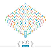 100 People - Outline Infographic - Male Team Leader