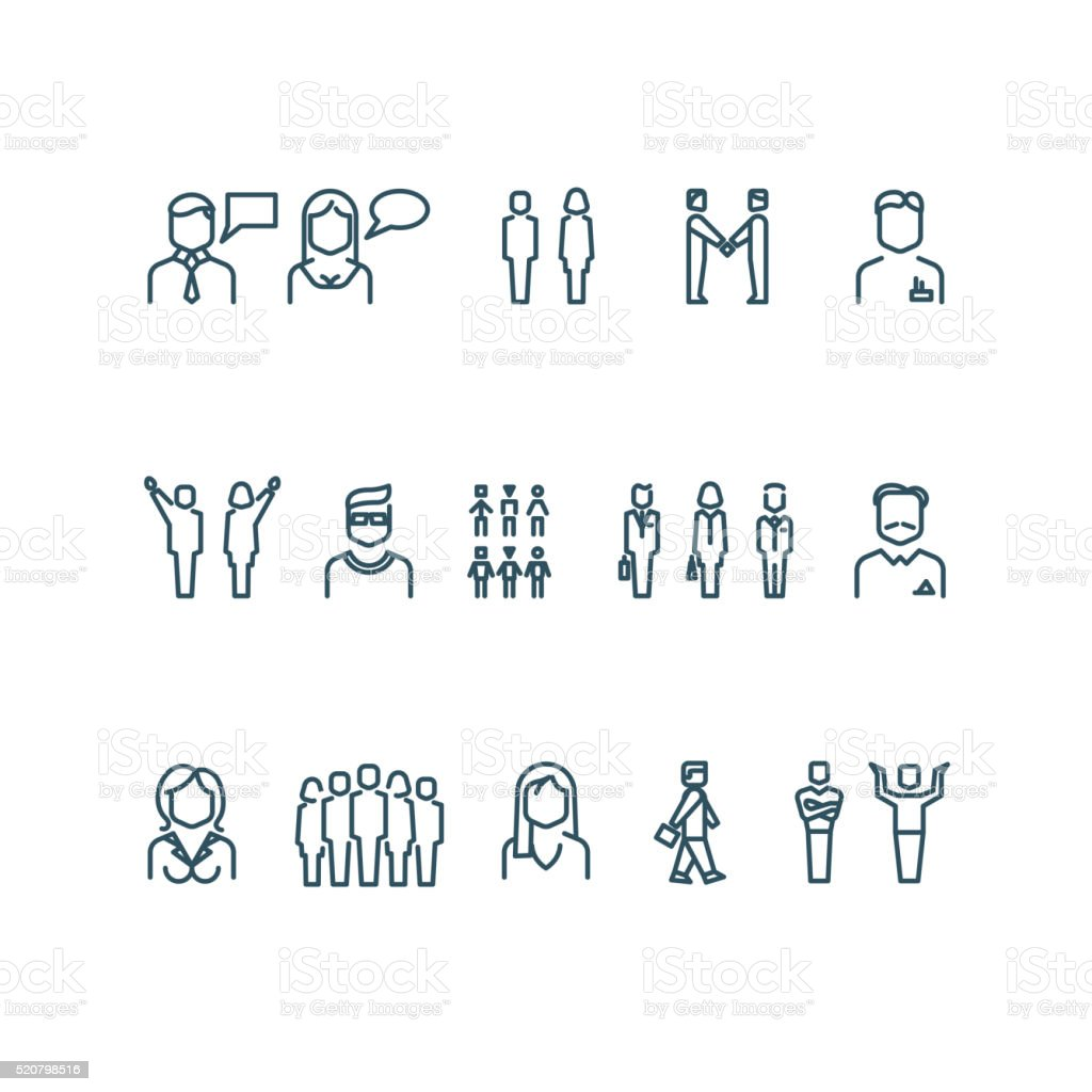 People outline vector icons vector art illustration