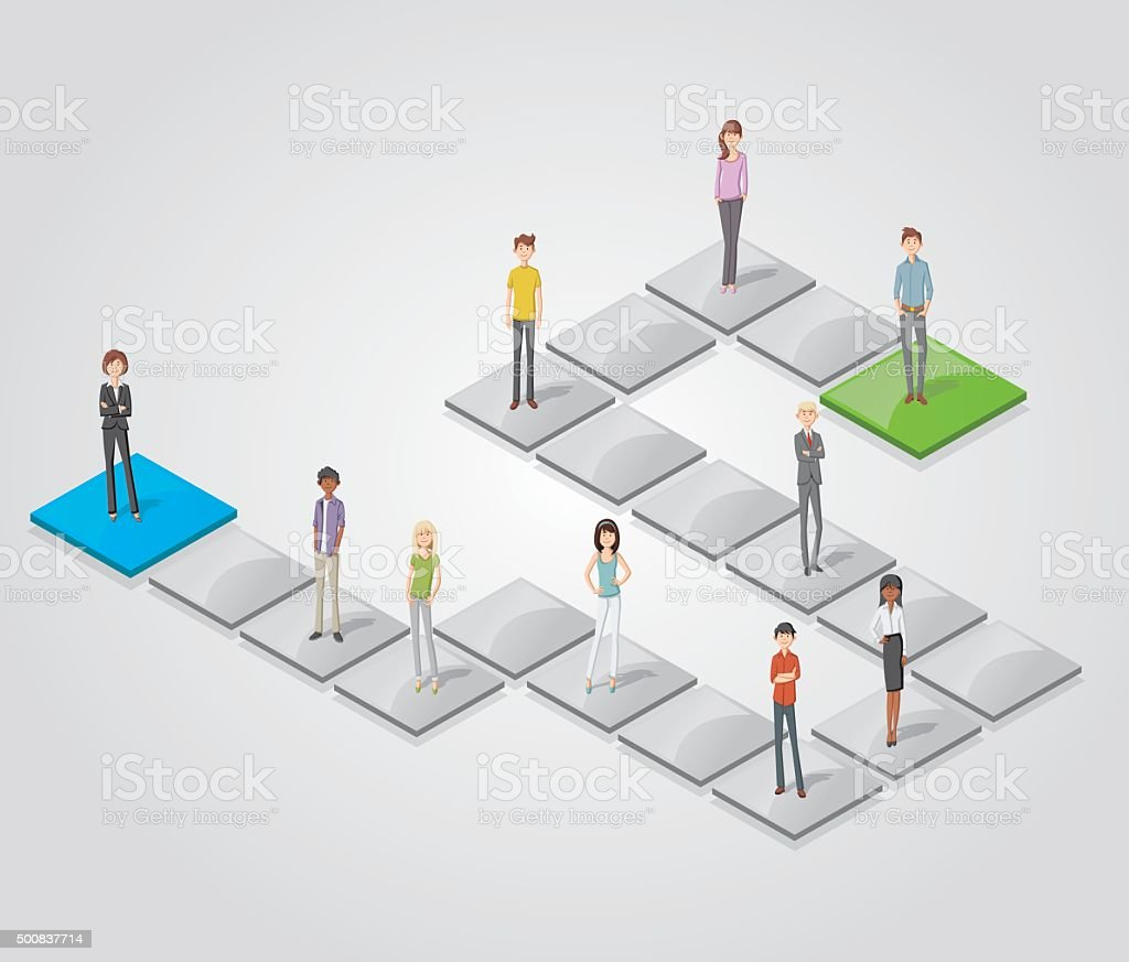 people over blocks向量藝術插圖