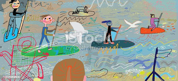 Vector Illustration of people having fun at the beach