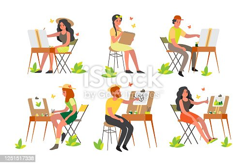 istock People painting outdoors. Young artist on plein air sitting by an easel with color palette 1251517338