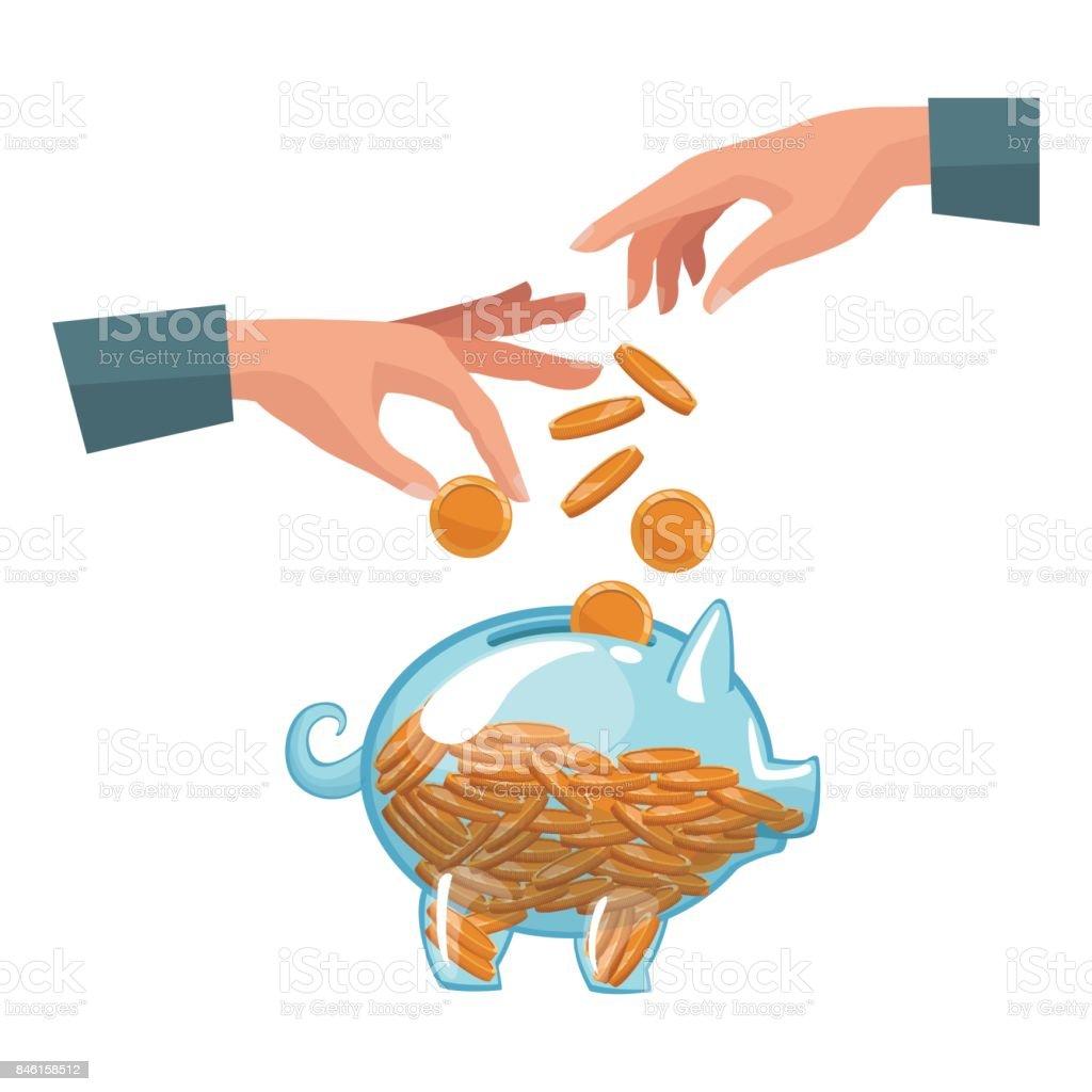 Menschen Verbinden Hände Münzen In Ein Sparschwein Geld Einzahlen ...